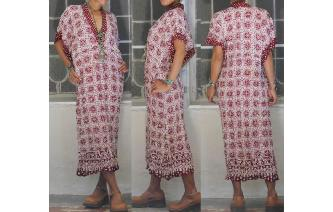 ETHNIC VINTAGE 70'S TRIBAL KAFTAN HIPPIE DRESS Image