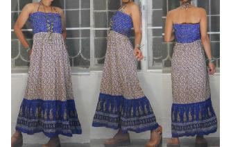 INDIAN GAUZE HIPPIE VINTAGE STRAPLESS MAXI DRESS Image