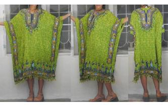 ETHNIC VINTAGE WESTSIDE HIPPY KAFTAN DRESS PLUS SZ Image