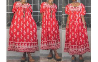 VINTAGE HIPPIE SHORT BALLOON SLV ETHNIC MAXI DRESS Image