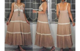 VINTAG TAN CREAM CROCHET HIPPIE BOHO MAXI DRESS Image