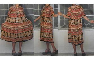 INDIAN GAUZE ETHNIC VINTAGE HIPPIE SHEERS DRESS Image
