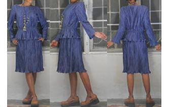 VINTAGE SILKY POLY PLEAT SECRETARY PRUSSIAN DRESS Image