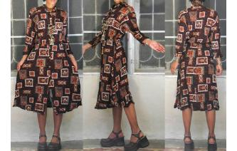 ETHNIC VINTAGE 70'S HIPPIE RAYON GYPSY SHIRT DRESS Image