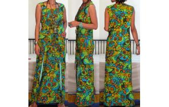 ETHNIC VINTAGE HIPPIE BOHO TRAPEZE MIDI DAY DRESS Image