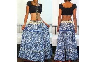 VTG FLORALS PRINTED BOHO GYPSY MAXI HIPPIE SKIRT Image