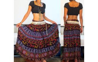 ETHN VTG INDIA GAUZE COTTON TRIBAL BOHO MAXI SKIRT Image