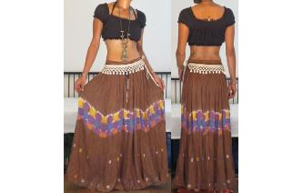 ETHN VINTAGE TIEDYE GAUZE INDIA COTTON HIPPY SKIRT Image