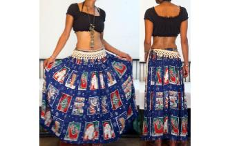ETHN VTG PHOOL INDIAN GAUZE BOHO HIPPIE MAXI SKIRT Image