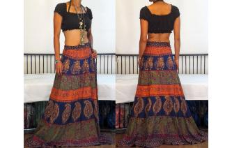 ETH VTG INDIAN COTTON WRAP BOHO MAXI SKIRT X LONG Image