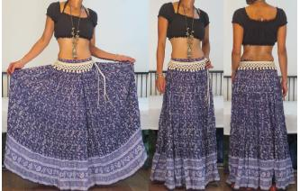 VTG INDIAN GAUZE COTTON BOHO PAISLEY MAXI SKIRT S Image