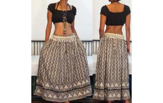 ETHNIC VTG TRIBAL INDIAN COTTON GYPSY MAXI SKRIT Image