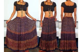 VTG CIRCLE INDIAN COTTON GAUZE HIPPIE MAXI SKIRT Image
