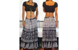 SEXY VTG INDIA GAUZE HIPPIE MAXI SHEER SKIRT DRESS Image