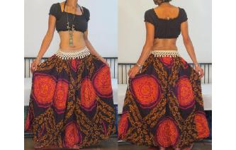 ETHNIC VTG HIPPIE INDIAN GAUZE COTTON MAXI SKIRT Image
