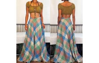 VINTAGE 70'S PLAID WOOL THE DENVER MAXI SKIRT 12 Image