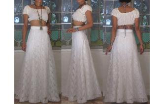 VINTAGE WHILE LACE PANELED FLARED BOHO MAXI SKIRT Image