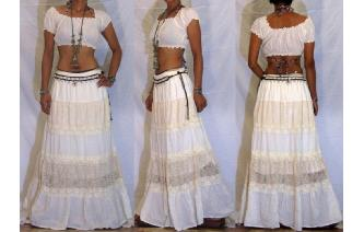 VTG WHITE EYELET EMBROIDERED BOHO GYPSY MAXI SKIRT Image