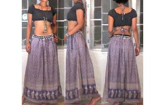 ETHNIC VTG INDIAN COTTON GAUZ MAXI HIPPE SKIRT Image