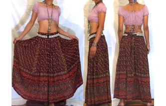 ETHNIC VINTAGE INDIAN RAYON HIPPIE BOHO MAXI SKIRT Image