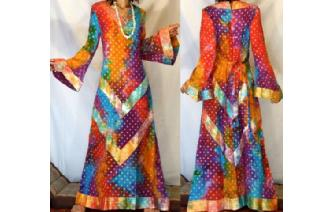 Vtg ETHNIC ELEGANTS KAFTAN BELL SLV MAXI DRESS L81 Image