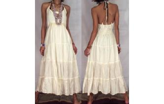 BOHO CREAM LACE UP HALTER TIERED DAY SUN DRESS L99 Image