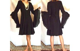 ETHNIC VTG WICCA GOTH BUTTERFLIES SLV DRESS C29 Image
