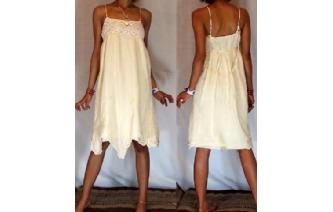 Vtg 2LAYERS CHEESECLOTH CROCHET DAY SUN DRESS C17 Image