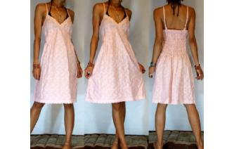 NEW Vtg 40's BABY PINK EYELET PARTY DAY SUN DRESS Image