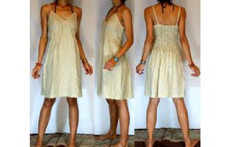 NEW Vtg 40's BEIGE EYELET PARTY DAY SUN DRESS S-M Image