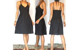 NEW SEXY Vtg 40's BLACK EYELET PARTY DAY SUN DRESS Image
