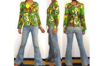 BOHO Vtg 70'S BABY DOLL PSYCHEDELIC BLOUSE TOP T57 Image