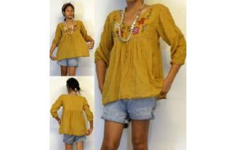 BOHO Vtg MEXICAN EMBROID SHIRT BLOUSE TOP XS-L T62 Image
