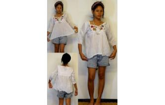 BOHO Vtg MEXICAN EMBROID SHIRT BLOUSE TOP XS-L T65 Image