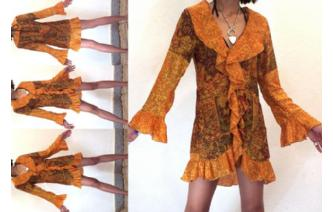 VTG 40's PSYCHEDELIC COVER SILK SHIRT TOP COAT T8 Image
