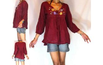 BOHO Vtg 60's MEXICAN EMBROID SHIRT BLOUSE TOP T16 Image