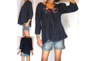 BOHO Vtg MEXICAN EMBROID SHIRT BLOUSE TOP 6-14 T18 Image