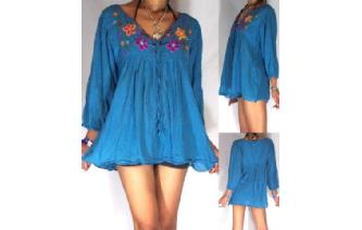 BOHO Vtg MEXICAN EMBROID SHIRT BLOUSE TOP XS-L T19 Image