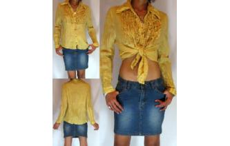 HIPPIE Vtg RUFFLED TUXIDO INDIE SHIRT BLOUSE M T30 Image